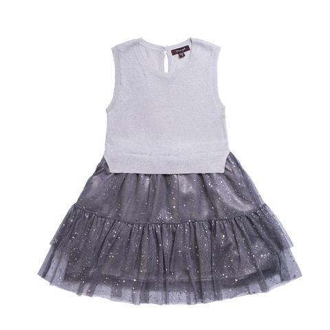 Girls Grey Knit Dress With Bows