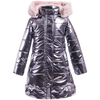 Girls long shiny puffer coat in gunmetal color with faux fur lined hoodie. Designed by Imoga.
