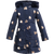 Girls long puffer coat in navy embellished with gold hearts and a faux fur hoodie. Coat designed by Imoga.