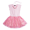 Sleeveless pink tutu dress with gold stars decorating the skirt. Ruffles outline the sleeve opening and a beaded necklace for the finish. By Imoga.