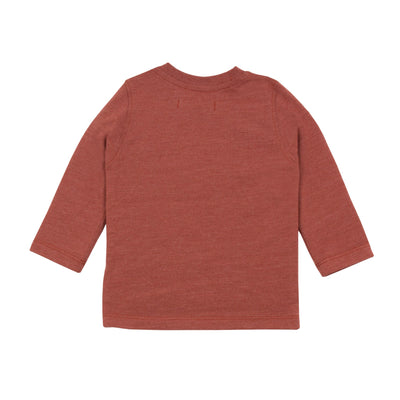 "Long-sleeved cotton jersey T-shirt is printed with a ""preppy"" motif representing a little boy on his way back to school. By Jean Bourget."