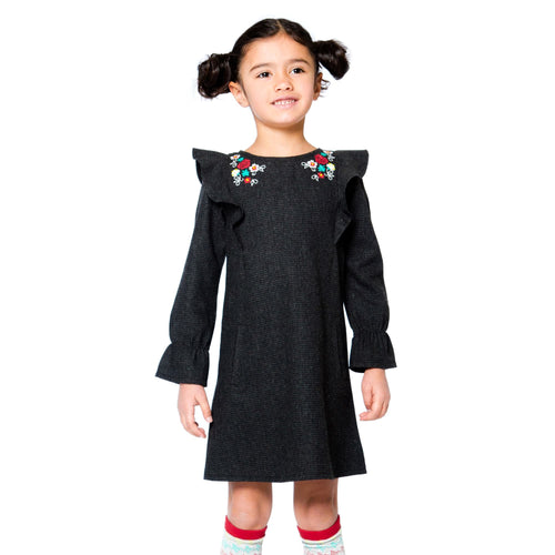 Girls Grey Flower Collar Dress