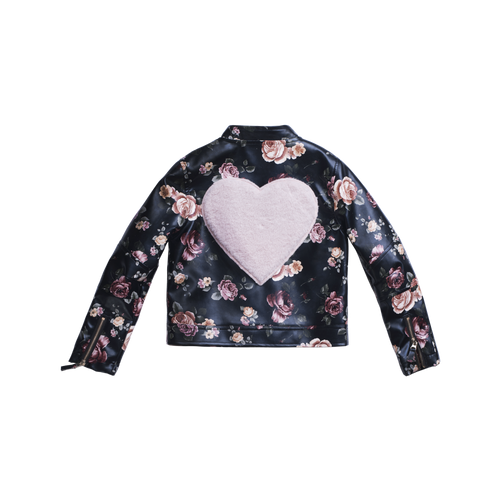 Girls faux leather jacket with pink flowers designed all over and a faux fur pink heart shaped patch on the back, by Imoga.