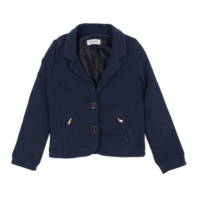 Jena Bourget navy blue mesh blazer is streaked with thin ribs. With two large buttons surrounded by copper edges, the jacket is energized by matching zipped pockets.