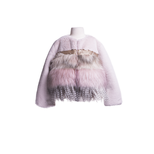 Girls Faux Fur Mix Pink Jacket