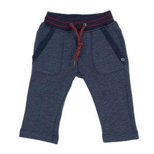 Boys indigo fleece warm joggers with elasticated belt and red stitching. Deigned by Jean Bourget.