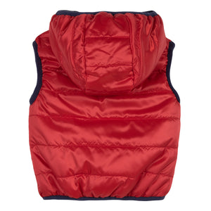 Baby & Toddler Boys Red Reversible Vest With Hoodie