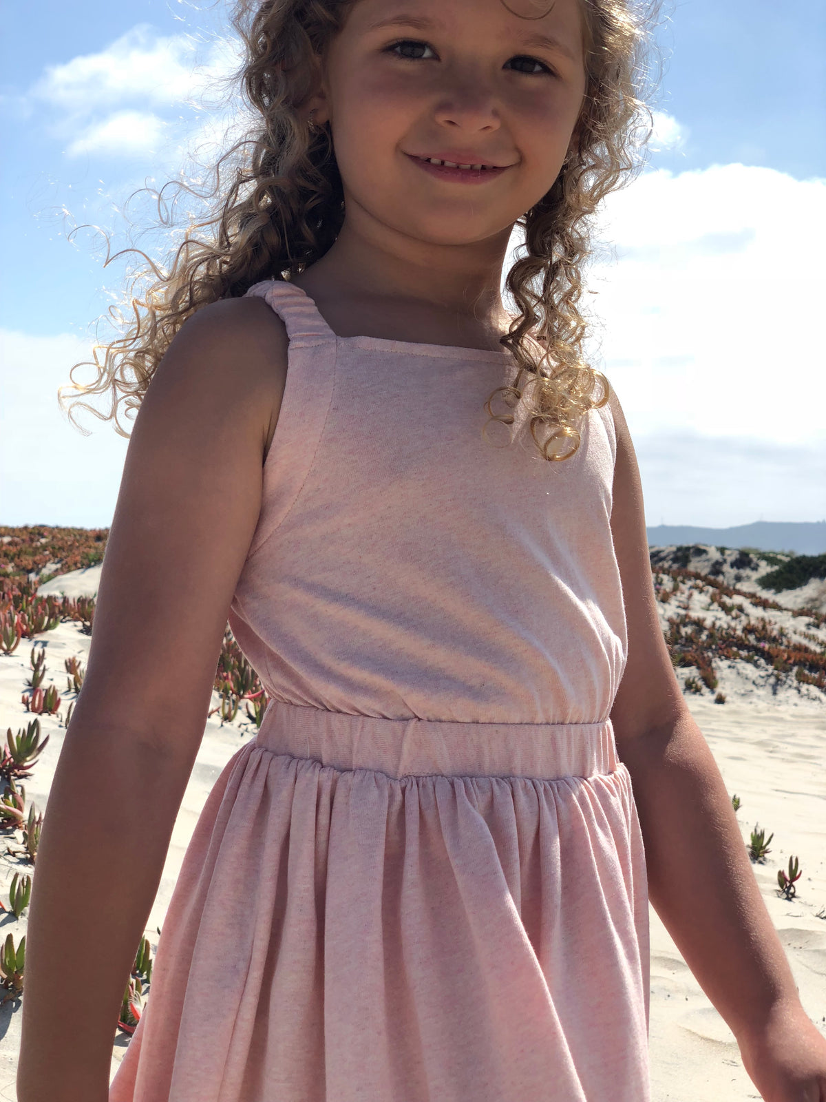 Girls blush color cotton sleeveless dress by Vignette.