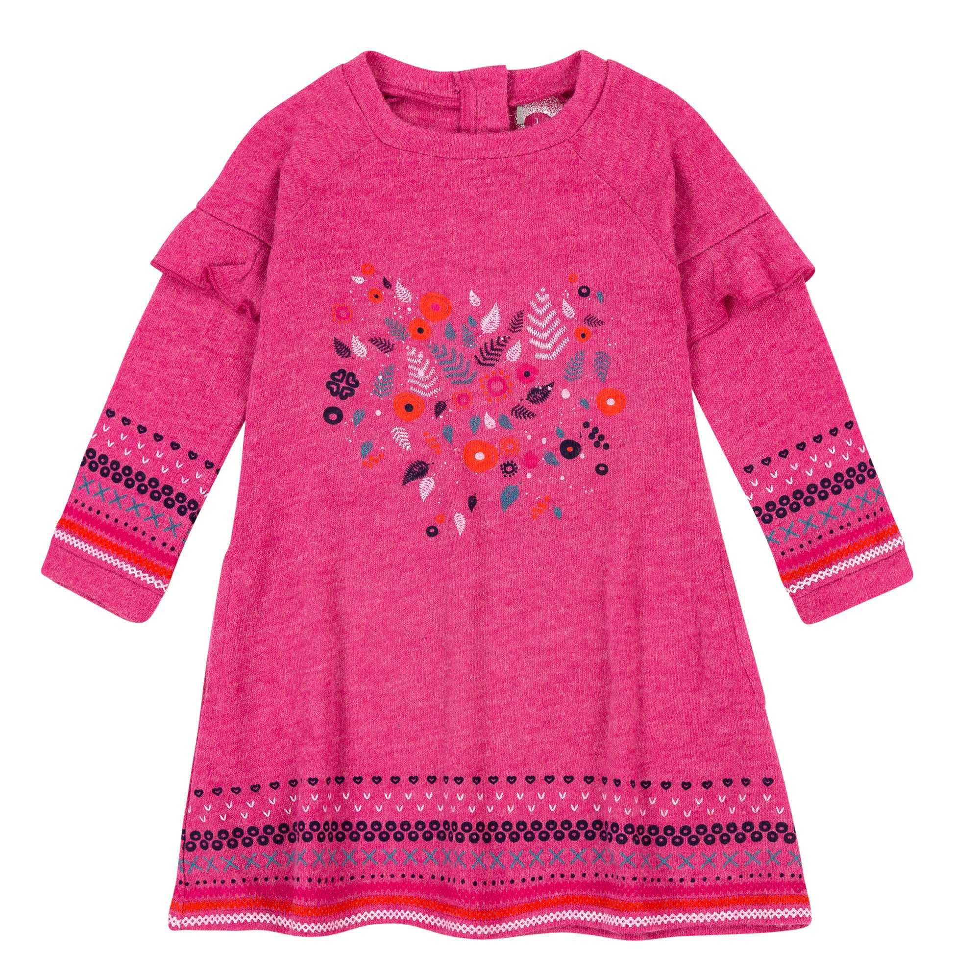 Girls Pink Brushed Knit Jersey Dress