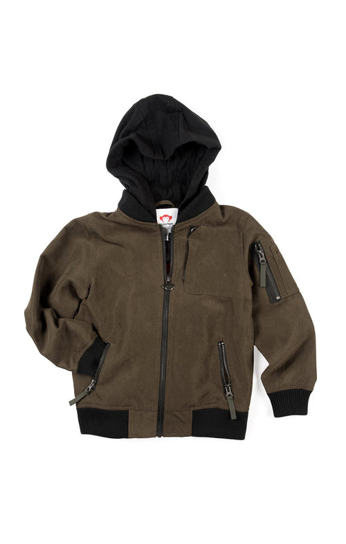 Boys Dark Olive Bomber Jacket