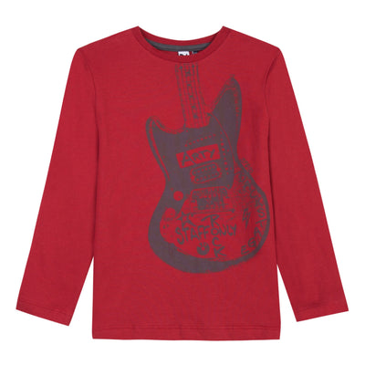 Boys Red Cotton Guitar Print T-Shirt