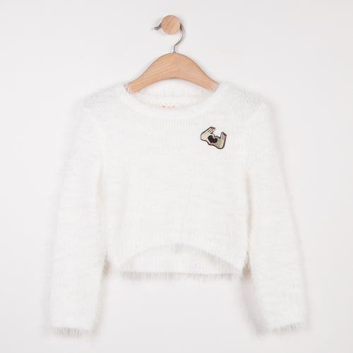 cocoon sweater with ultra-soft fluffy effect knit with fine metallic glitter fiber and round neckline designed by Catimini.