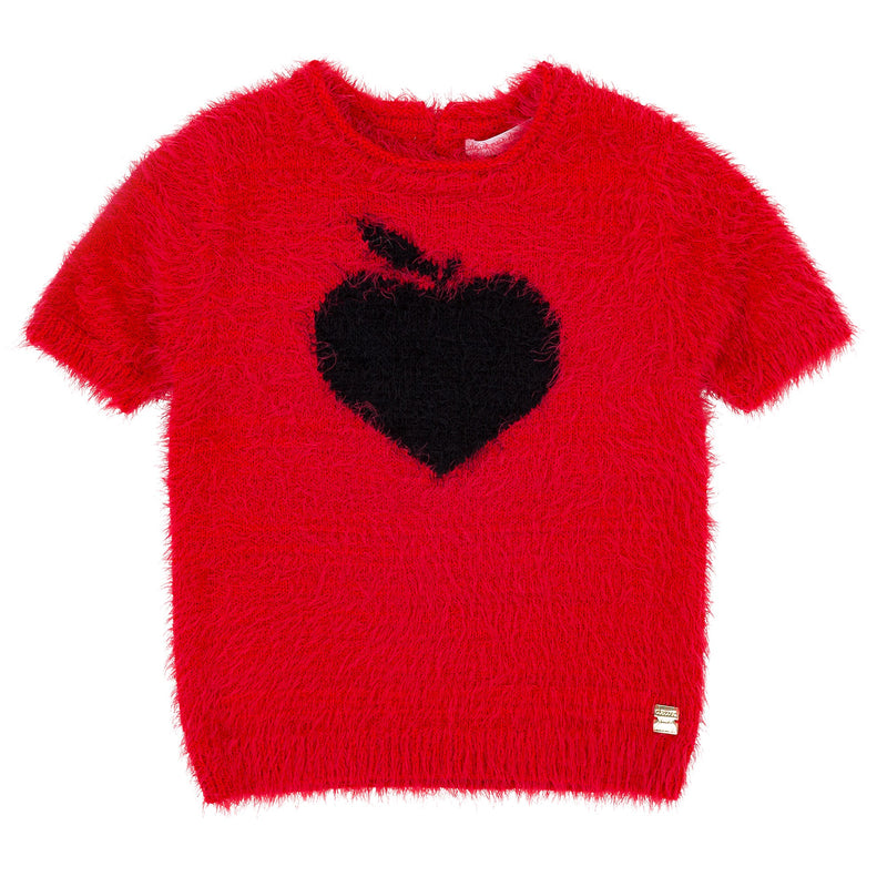 Girls Red Heart Sweater