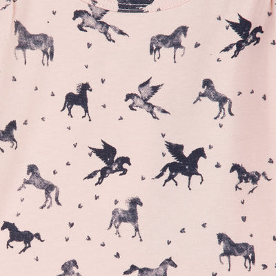 Baby & Toddler Girls Pink Dress With Flying Horse Print
