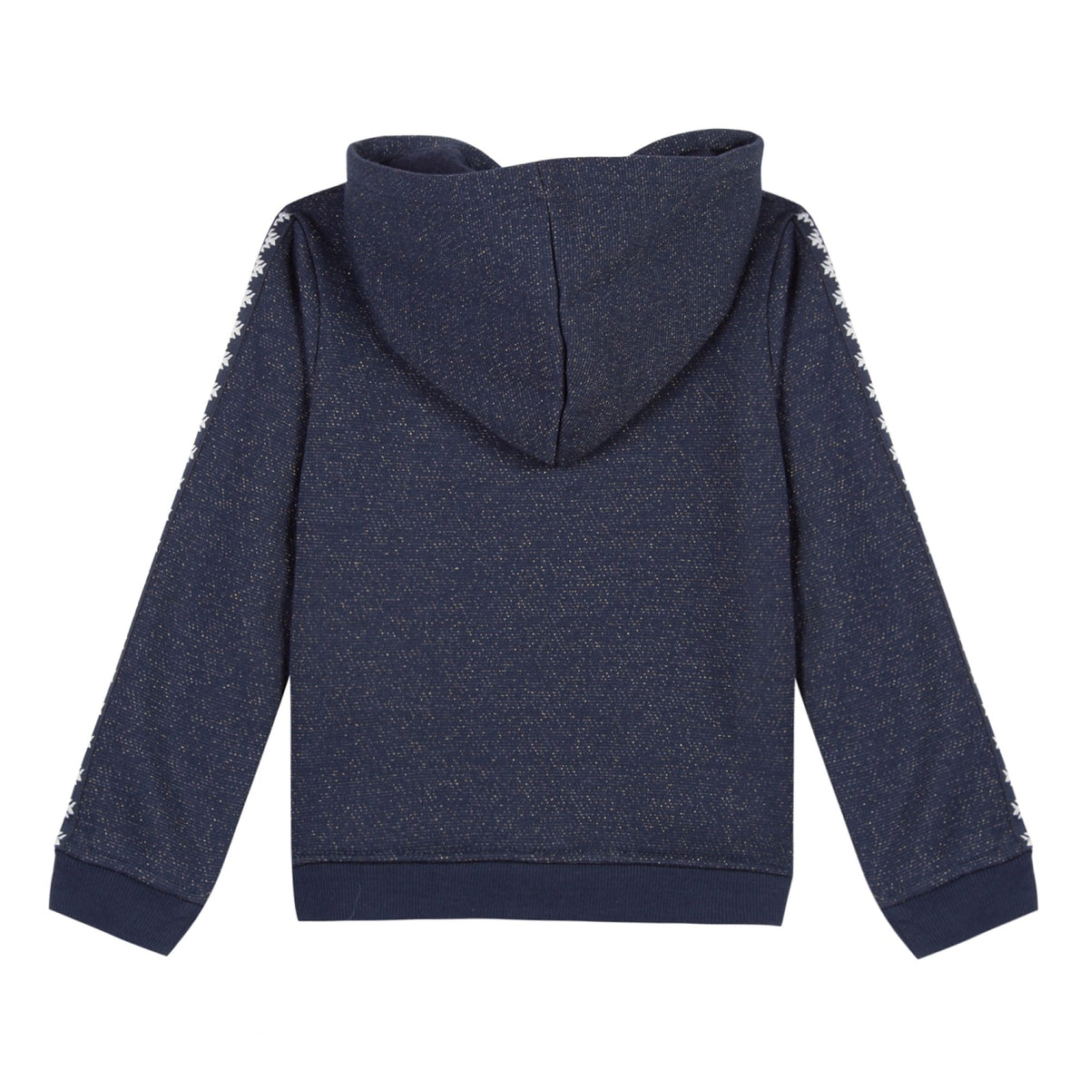 Girls Embroidered Navy Zip Up Hoodie