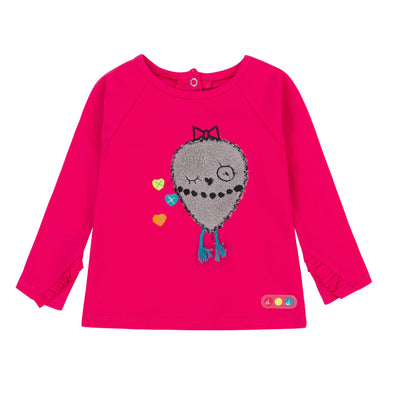 Girls Pink Owl Love T-Shirt