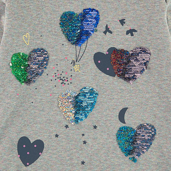 "Girls Grey ""Hearts"" Sequin Top"