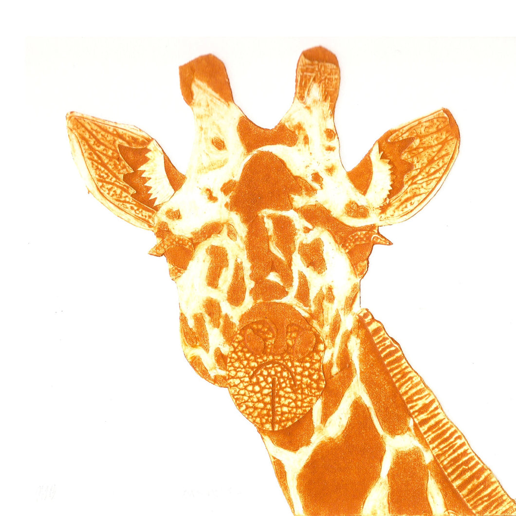 Wildshed limited edition print - giraffe mustard