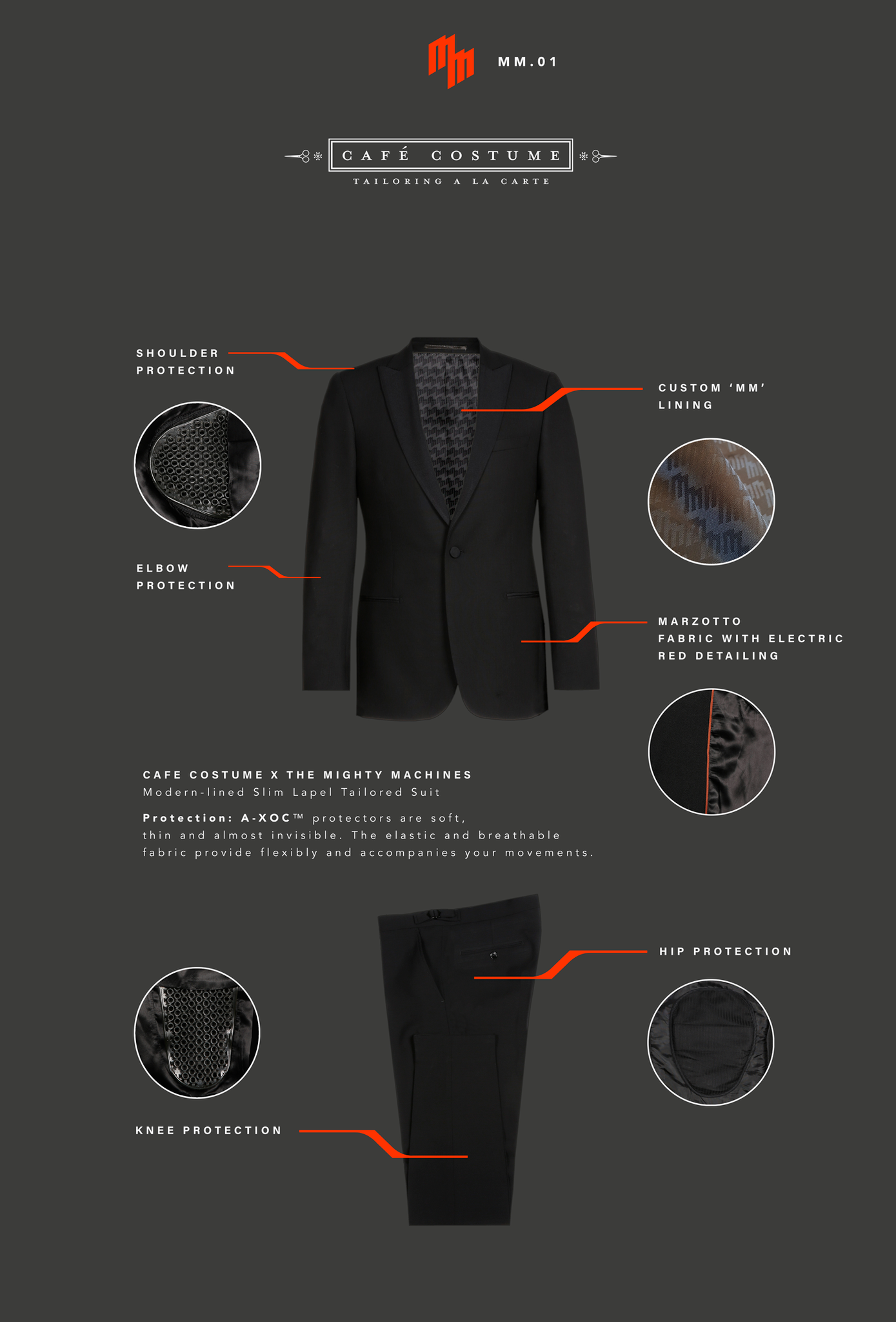 Slim Cut Tailored Biker Suit by CAFE' COSTUME