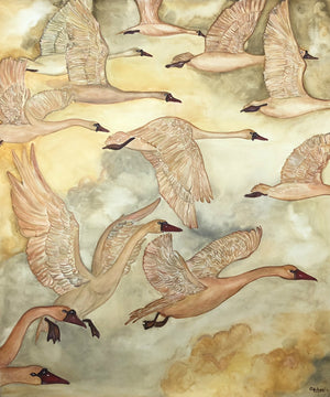FLIGHT OF THE GOLDEN GEESE - Original Artwork