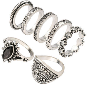 Womens retro finger joint ring set
