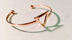 gold triangle bangle bracelet