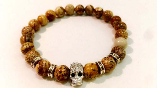 beaded bracelet in diamond studded silver skull