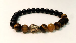 Black and Brown Onyx bead in Gold buddha