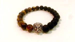 Black and Brown beaded in Silver lion head