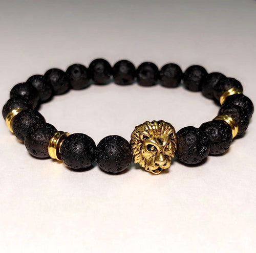 Black Beaded Gold Lion Head Bracelet