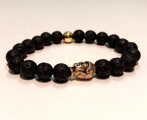 Black Onyx Bead in Gold Buddha