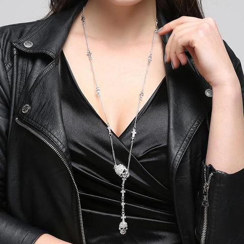 Daily Skull Cross crystal Pendant Necklace Gothic Long Necklaces