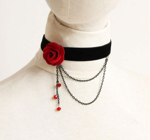 Fashion Women Retro Gothic Black Red Flower Lace Necklace Collar