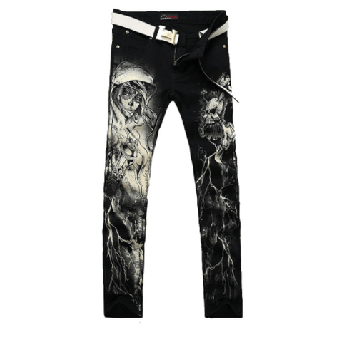 Punk Style Gothic Painted Jeans