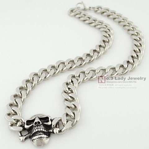 Stainless Steel Curb Cuban Chain Skull Necklace For Men