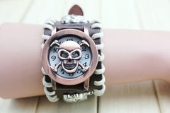 Antique Leather Bracelet Skull Unisex Quartz Watch