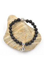 Buddha And OM Lava Rock Bracelet