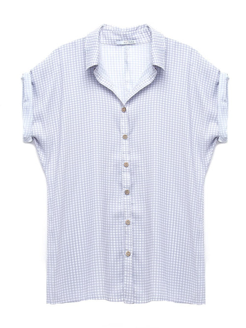 Jordan Check Blouse | White & Gray