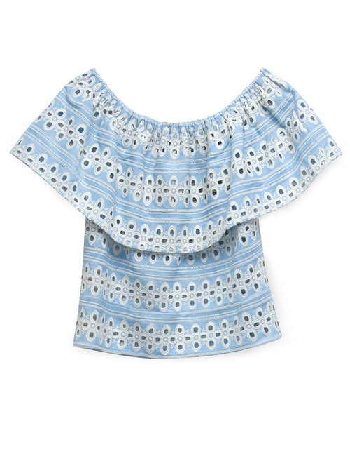 Jamaica Eyelet Top | Chambray Blue/Ivory