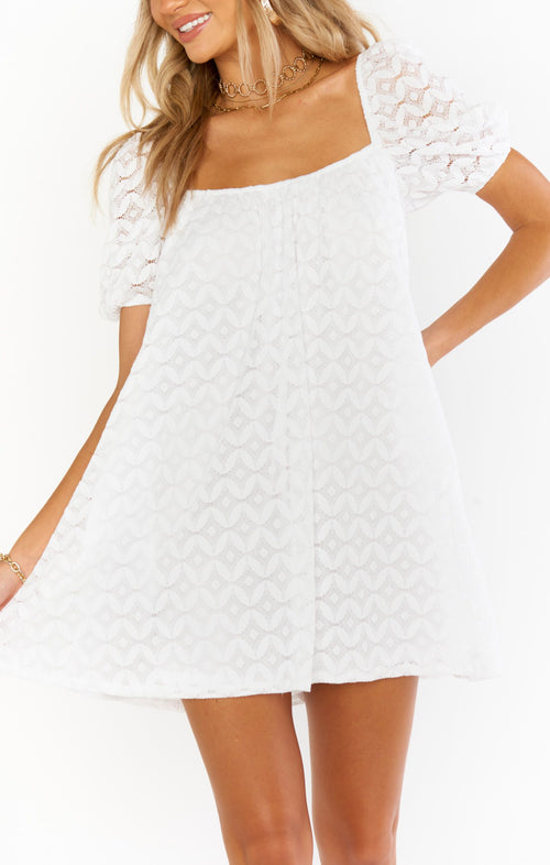 Flora Mini Dress | Spacey Lacey White