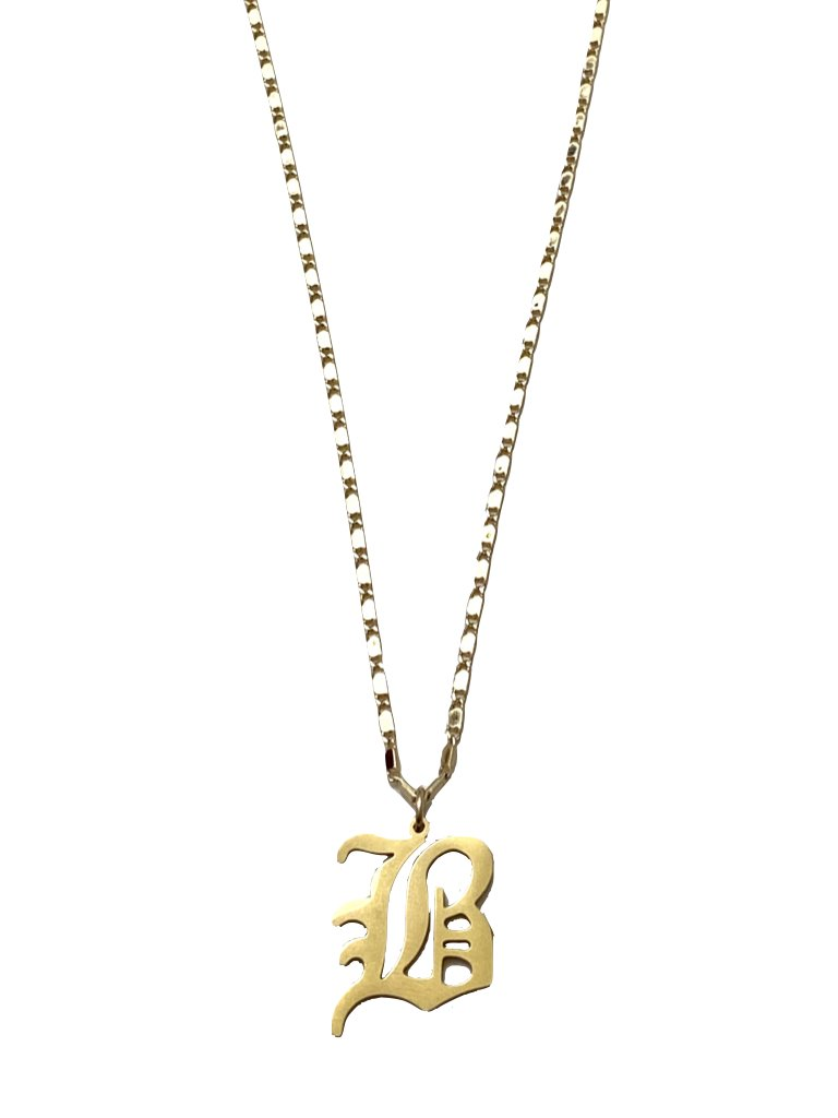 Mi Vida Gothic Initial Necklace | Gold