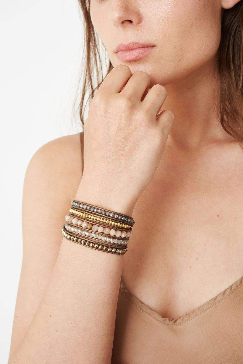 Pyrite Mix Wrap Bracelet On Kansa Leather