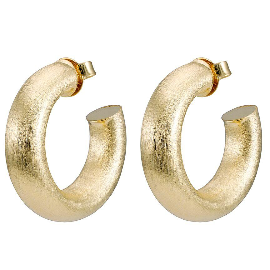 Small Chantal Hoop Earrings | Brushed Gold