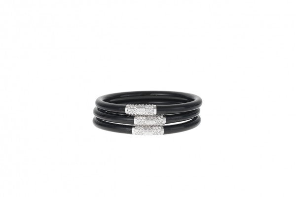 Black All Weather Bangles | Silver Bead