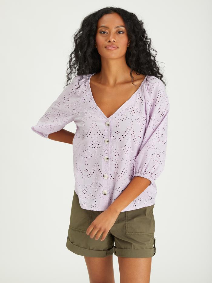 Modern Button Front Top | Lavender Ice