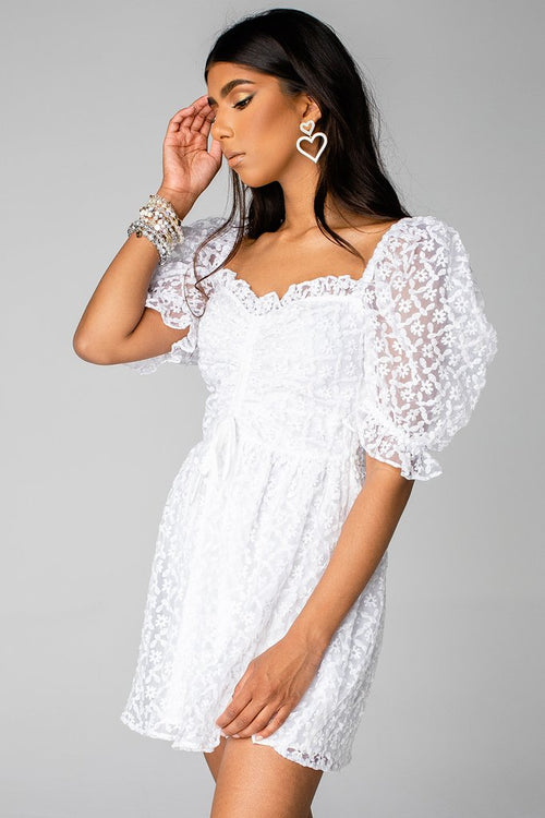 Colby Puff Sleeve Mini Dress | White