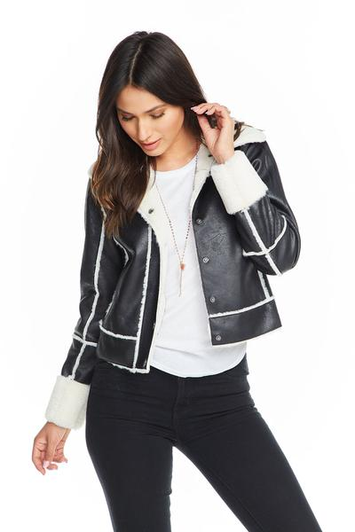 Suede Faux Fur Lined Jacket - Black