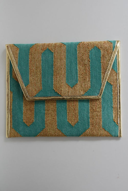Main Street Envelope Clutch | Mint & Gold