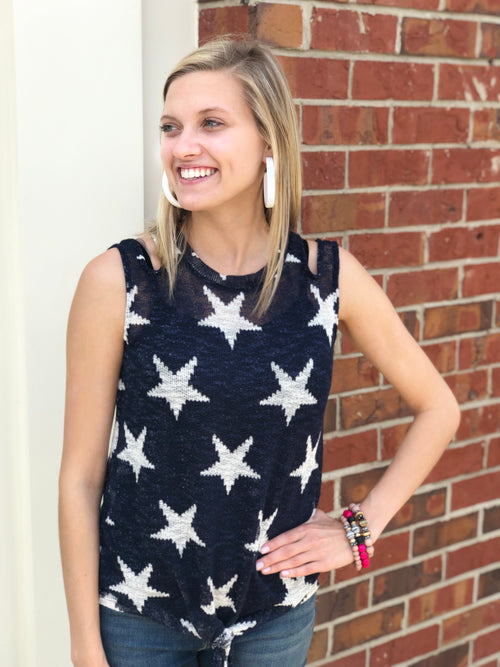 Star Print Knit Top | Navy