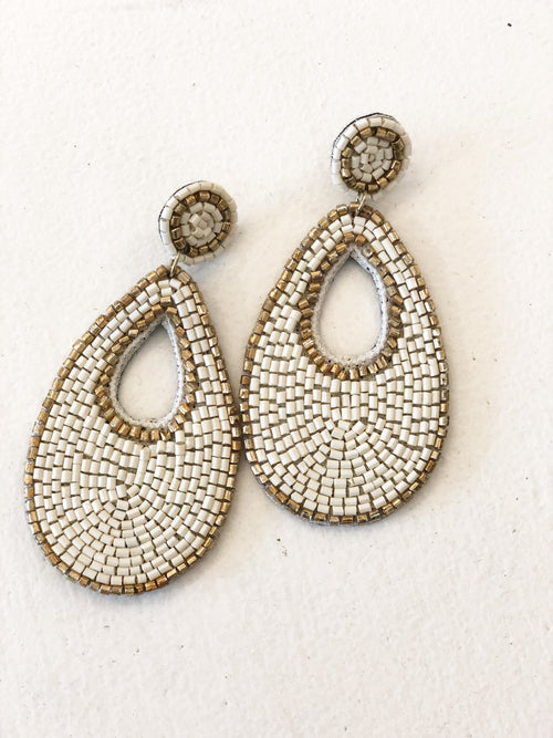 Tear Drop Seed Bead Earrings - Ivory